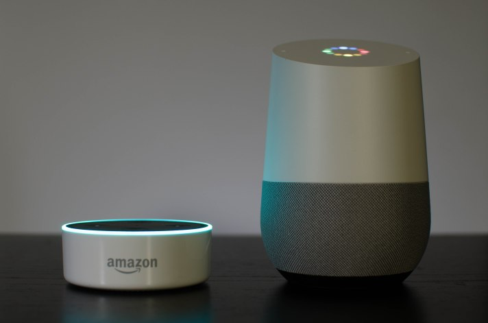 Amazon Echo Dot and Google Home